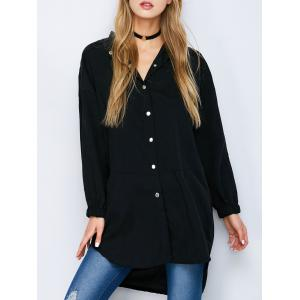 Button Down High Low Slit Shirt - Black - M