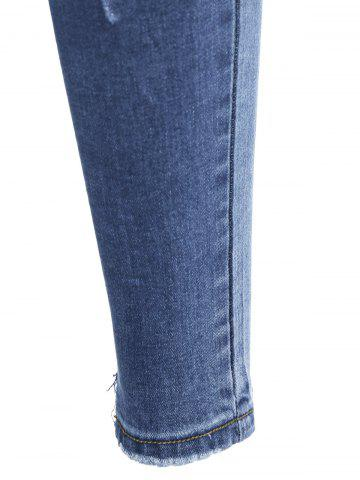 Trendy Slim Fit Distressed Jeans - XL BLUE Mobile
