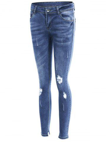 Hot Slim Fit Distressed Jeans - XL BLUE Mobile