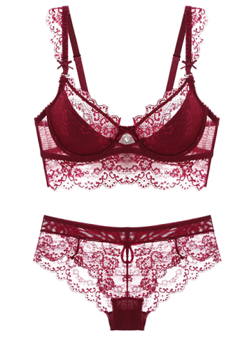 Fashion Push Up Lace Spliced Scalloped Panties and Bra Set WINE RED 90D