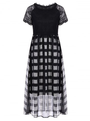 Lace Insert Plaid Tea Length Dress - Black - Xl
