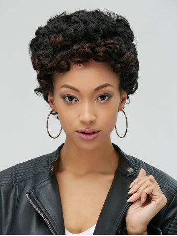 New Adiors Pixie Ultrashort Fluffy Curly Synthetic Wig BLACK