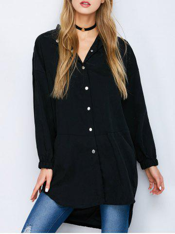 Affordable Button Down High Low Slit Shirt BLACK M