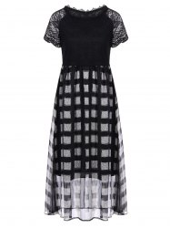 Lace Insert Plaid Tea Length Dress