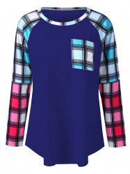 Plus Size Raglan Sleeves Long Plaid T-Shirt