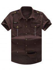Short Sleeve Pocket Cargo Military Shirt with Epaulet
