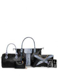 6PCS Snake Embossed Handbag Set - BLACK