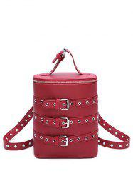 Buckle Sangles Oeillets Détail Convertible Backpack - Rouge Vineux