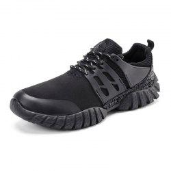 Color Block Suede Sport Shoes - BLACK