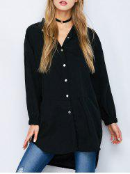 Button Down High Low Slit Shirt