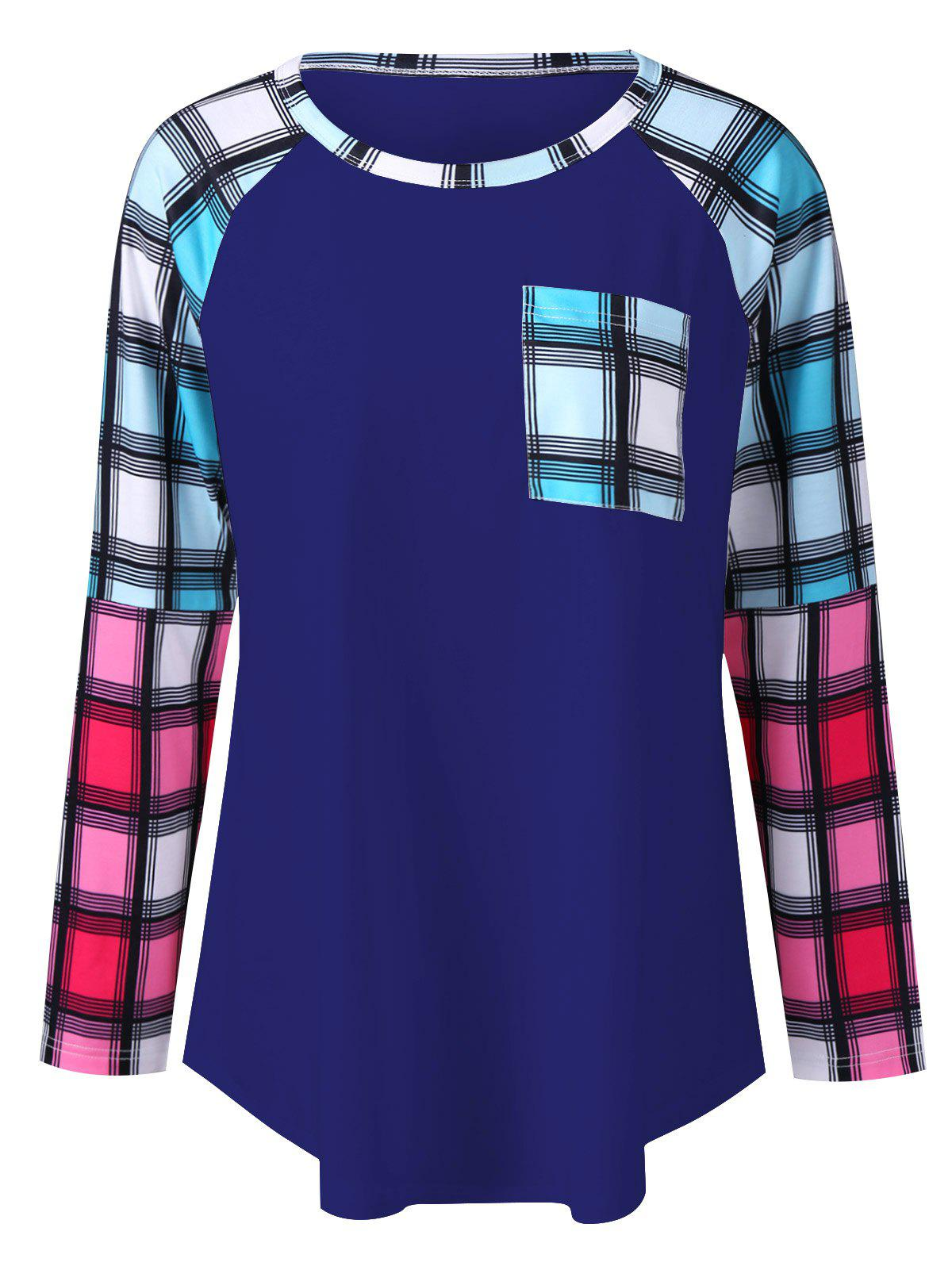Plus Size Raglan Sleeves Long Plaid T-ShirtWOMEN<br><br>Size: 4XL; Color: BLUE; Material: Polyester,Spandex; Shirt Length: Long; Sleeve Length: Full; Collar: Round Neck; Style: Fashion; Season: Fall,Spring; Pattern Type: Plaid; Weight: 0.320kg; Package Contents: 1 x T-Shirt;
