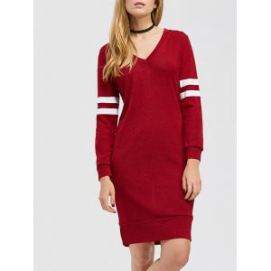 Color Block V Neck Casual Shirt Dress - Burgundy - M