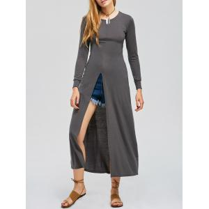 Long Sleeve High Slit Maxi Dress - Deep Gray - S