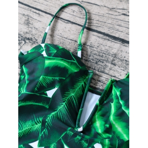 Palm Leaf Print Plunge Swimsuit - GREEN L