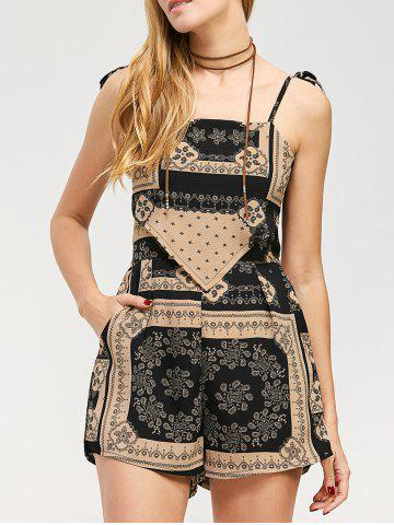 Backless Tribal African Print Spaghetti Strap Romper - Colormix - S