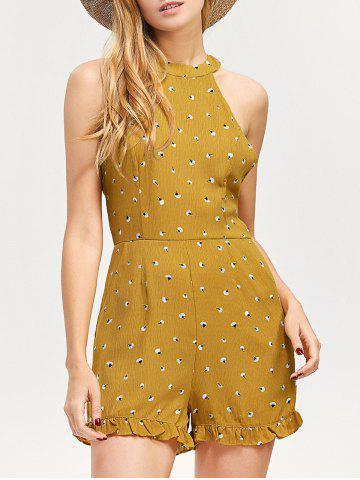 Affordable Backless Printed Ruffled High Neck Romper GINGER XL
