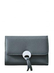 Faux Leather Tri Fold Small Wallet - DEEP GRAY