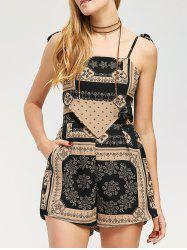Backless Tribal African Print Spaghetti Strap Romper