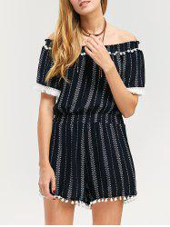 Off-The-Shoulder Striped Fringed Romper - PURPLISH BLUE