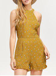 Backless Printed Ruffled High Neck Romper - GINGER XL