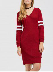 Color Block V Neck Casual Shirt Dress
