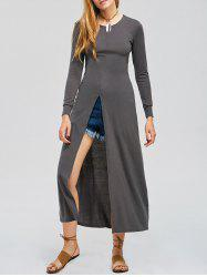 Jewel Collar High Slit Maxi Dress