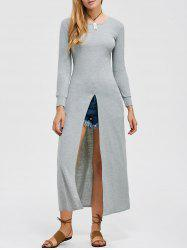 Long Sleeve High Slit Maxi Dress