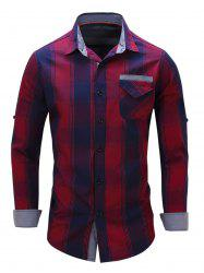Long Sleeve Check Shirt with Flap Pocket