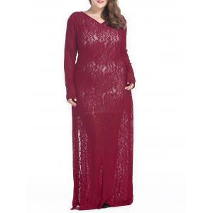 Plus Size Maxi Lace Long Sleeve Sheer Dress