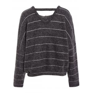V Neck Striped Loose T-Shirt - DEEP GRAY ONE SIZE
