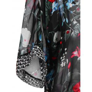Stylish Open Front Wide Sleeve Floral Print Women's Cover-Up - BLACK ONE SIZE(FIT SIZE XS TO M)