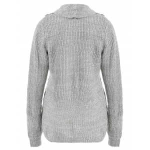 High Neck Asymmetrical Cardigan - GRAY XL