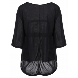 Plunging Neckline Plain Loose-Fitting Half Sleeve T-Shirt - BLACK M
