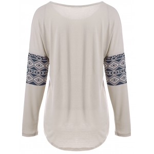 Casual Scoop Neck Long Sleeve Elk Printed Christmas T-Shirt For Women -