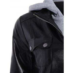 Fashionable Hooded Pocket Design Black Faux Leather Jacket For Women -