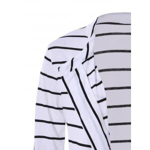 Chic Collarless Long Sleeve Spliced Striped Women's Cardigan - WHITE M