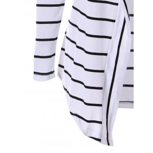 Chic Collarless Long Sleeve Spliced Striped Women's Cardigan - WHITE XL