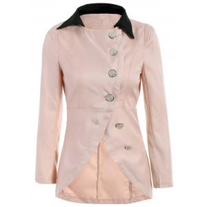 Ladylike Style Long Sleeves Irregular Solid Color Single-Breasted Women's Coat - Pink - One Size