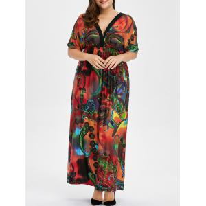Bohemian Print Plus Size Maxi Dress - Red - 4xl