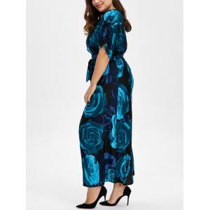 Bohemian Floral Print Plus Size Long Maxi Formal Dress - Deep Blue - 6xl