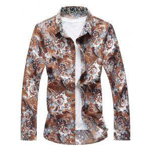 Long Sleeve Buttoned Floral Shirt - Floral - 3xl