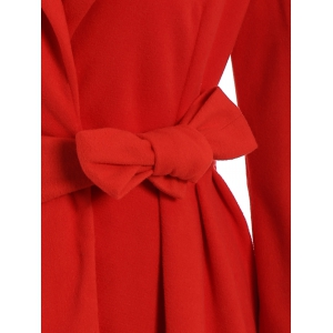 Noble Turn-Down Collar Long Sleeve Pure Color Self Tie Belt Women's Coat Dress - RED XL
