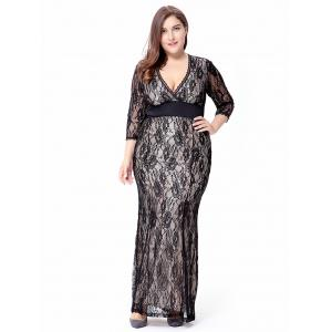 Empire Waist Plus Size Lace Bodycon Dress With SLeeves - Black - 3xl