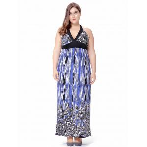 Plus Size Empire Waist Paisley Halter Beach Maxi Dress - Blue - 6xl