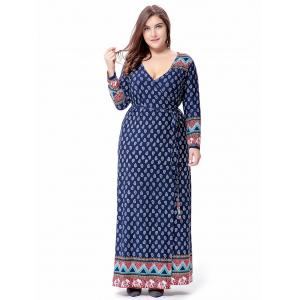 Maxi Plus Size Long Sleeve Tribal Wrap Dress