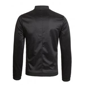 Zipper Up Bomber Jacket - BLACK 3XL