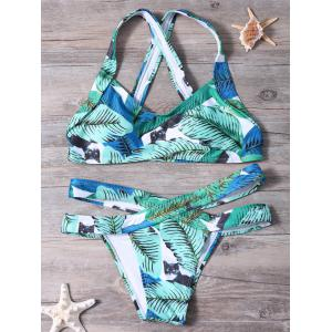 Palm Leaf Print Bandage Bikini Set