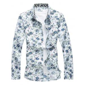 Long Sleeve Buttoned Floral Printed Shirt - White - 3xl