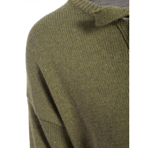 Lace-Up lâche Pull Casual - Vert Armée TAILLE MOYENNE