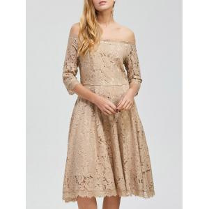 Party Off Shoulder Lace A Line Swing Dress
